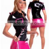 2015 Black And Pink Latex Top And Mini Skirts Stewardess Uniform Fetish Rubber Costumes Plus Size Hot Sale