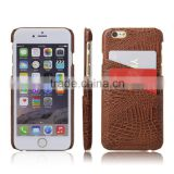 Fashion PU CROCO Mobile Phone Case Cover for iPhone 6 Brown Leather Casing With Two Card Slots