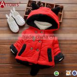 Thick Warm 2016 Fashion Kids Baby Child Winter Coat Outwear Red+Black and Purple+White Color
