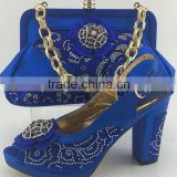 High quality popular open toe design high heel matching bag with beautiful pattern for woman
