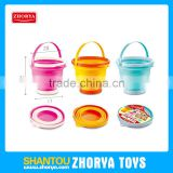 Zhorya children outdoor cheap summer play set round foldable bucket toys beach set toy