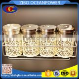 S/4 white coat swivelling cover glass spice jar set