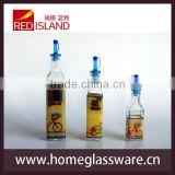 square glass dispenser for oil and vinegar with stopper