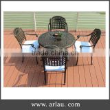 Powder Coated Steel Frame Outdoor Furniture Leisure Dinning Table