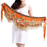 Wholesale ladies Chiffon Dangling Gold Coins belly dance hip scarves wrap belt