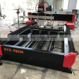 High efficiency 4 spindle Double table CNC Router Stone Heavy duty lathe bed with Rotary axis
