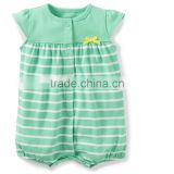 Factory price high quality cotton breathable baby girl romper stripe bodysuit for kids jumpsuit