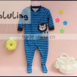 100% cotton baby striped lion aniaml printed footed pajamas, boys pajamas with feet wholesale