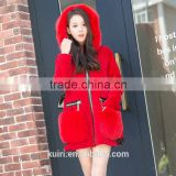 Winter Women's Long Natural Real Wool Sheep Shearling Coat Plus Size Jacket With Hood Genuine Fox Fur Pockets