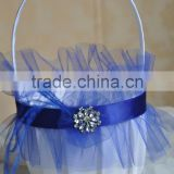 2016 New style White and royal blue ribbon tulle Satin Wedding Flower Girl Basket Wedding Decorations handmade feather basket