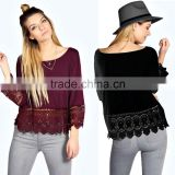Fashion Women Lace Crochet Loose Tops 3/4 Sleeve Newest Shirt Kimono Casual Blouse For Wholesale 2017