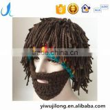 Hot Sell Mens Barbarian Knit Crochet Hat Wig Mustache Cap Beard Mask Hat detachable beard
