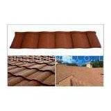 Wave / Double Roman Roof Tiles / Aluminum - Zinc Coating Stone Chip Coated Steel Roofing Tile