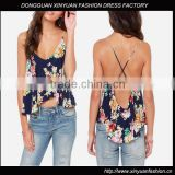 Wholesale ladies floral print tank top for women latest fashion