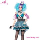 Colorful sleeveless checked pattern women sexy professional clown costume