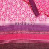 Fuchsia Floral Border Kota Doria Screen Printed Fabric