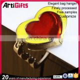 Cheap 3d metal heart shape folding bag purse hook