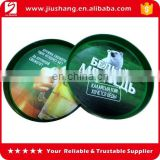 Custom round shape plastic bar tray with logo printed on film