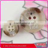4 holes brown plastic resin button for lady's wind coat