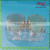 15/30/50g square acrylic cosmetic acrylic containers with golden inner cup and cover, 0.5/1/1.6oz acrylic cream jars