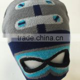 Winter Funny 2 hole balaclava acrylic knitted face mask hat ski mask hat boys