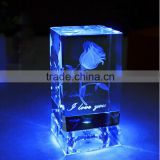 3d laser engraved crystal rose wedding favors crystal cube block with led