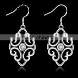 2015 simple design silver plated CZ fine bali jewelry earrings