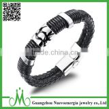 Mens Braided Leather Rope Bracelet Stainless Steel Magnetic Clasps For Flat Leather Bracelet