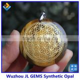 2014 New Design Natural Tiger's Eye Crystal Stone Chakra Pendulum Flower Of Life Pendant Necklace