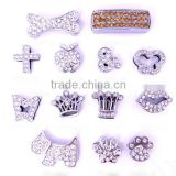 Rhinestone pave hot selling 10mm slide charms,dog bone,crown, dog slide charms                                                                         Quality Choice