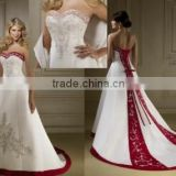 A-line Satin Red and White Wedding Dress