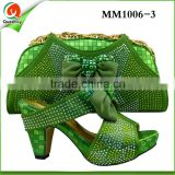 MM1006-3 water green middle heels fashion ladies evening party shoes match bags with crystal for girls