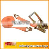 Orange color 50MM lashing tensioner strap/2inch lashing straps safety belt with hardware fitting J hooks