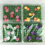 alibaba Beautiful artificial grass carpet with flower for garden decor