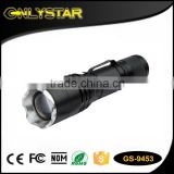 Onlystar GS-9453 800 lumen cre xml t6 aluminum alloy adjustable zoom flash light 18650 rechargeable battery rugged flashlight