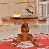 Dining room solid rubber wood turntable antique lazy susan dining table