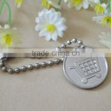 Metal shopping trolley cart token cion keychain keyring