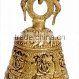 Temple Bells Carved with Shiva 13""