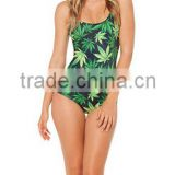 2014 New Fashion Leaves printed vest straps of traditional thin conjoined female swimsuit bikini