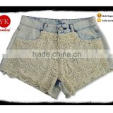 Cheap new style comfortable mesh blue lace women denim bleach wash jeans shorts jacket factory