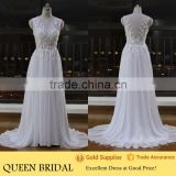 New Arrive V-Neck Sleevelessless Appliqued Lace See Through Bodice Sexy Chiffon Beach Wedding Dress