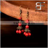 Classic Handmade lantern Drop earrings for women antique brass and red color