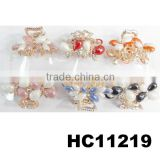 kids mini rhinestone ceramic butterfly metal snap hair clips wholesale