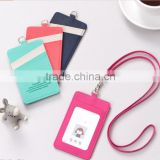 colorful korean style cute custom business card holder with lanyard