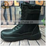 High quality cheap price leather black military police army combat boots with zipper for man