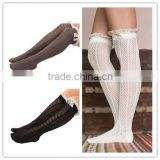 Wholesale women sexy over the knee length high socks high quality hollow winter lace knitting boot socks