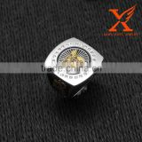 In Stock Men's Custom Made Men's Two Tone Silver 18k Gold Plated Stainless Steel Freemason Masonic Shriner Ring                                                                         Quality Choice