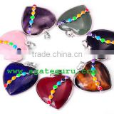 wholesale Natural Seven Chakra Reiki Set Heart Pendant : Handmade Chakra Sets : Wholesaler Manufacturer