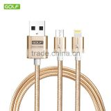 Golf newest release 2 in 1 metal braided data cable suitable different mobile phone universal function