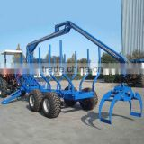 CE certificate ZM8006 8 tons Log loading Trailer with Crane for sale